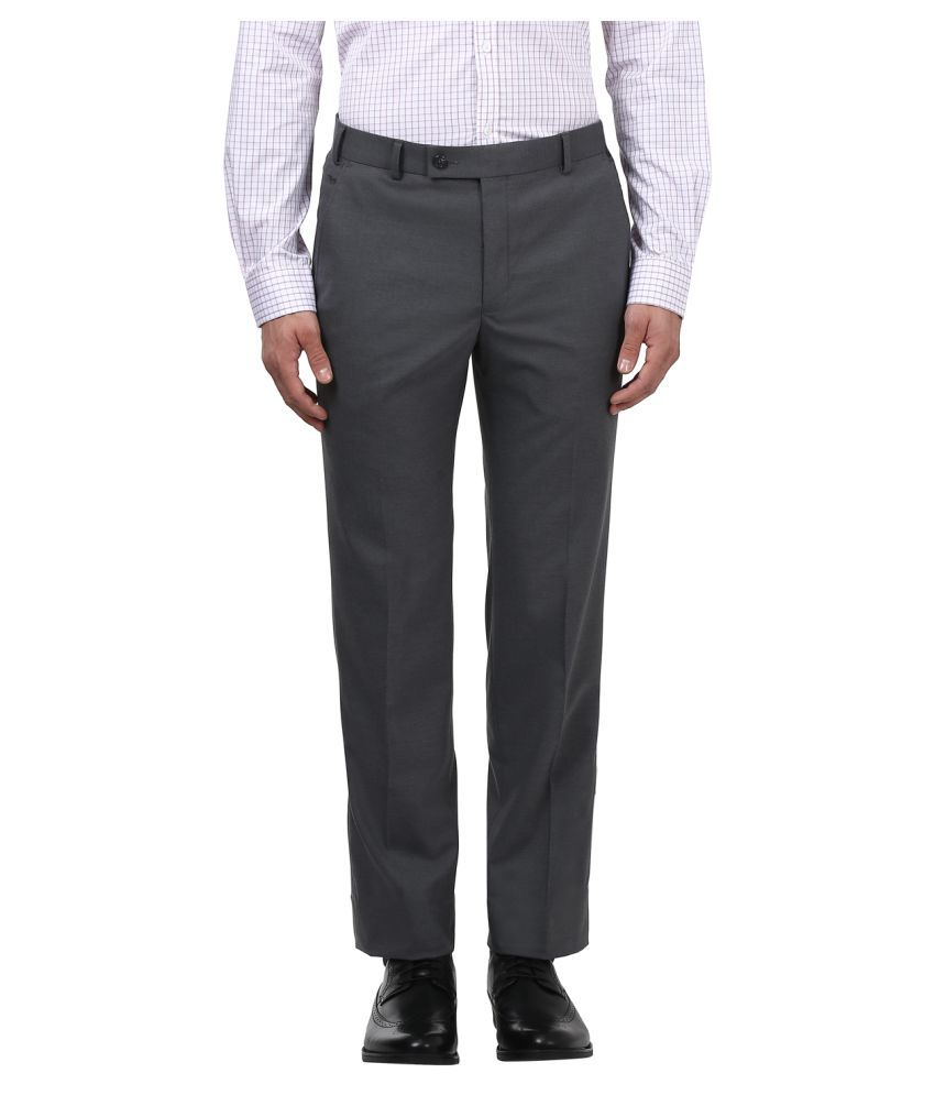 Park Avenue Grey Slim -Fit Flat Trousers
