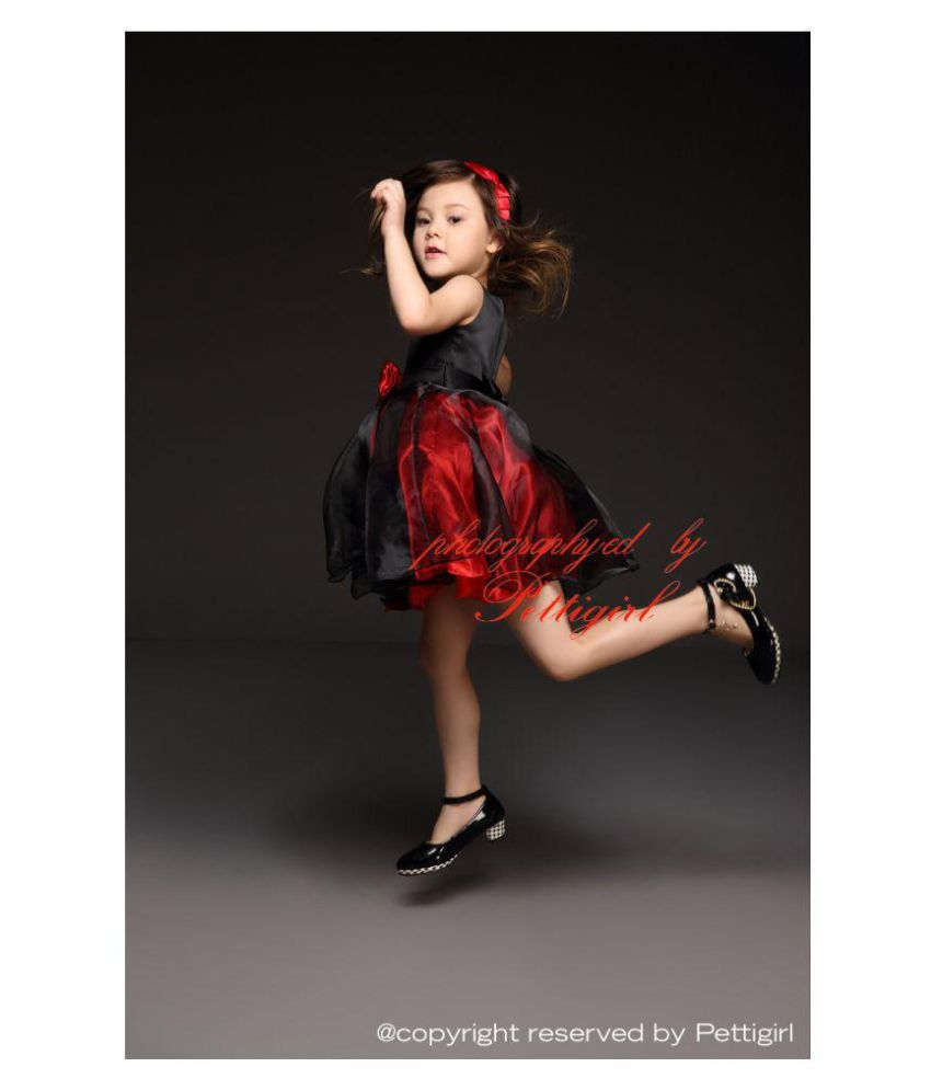 49d87f1f92f3 RedVelvet Red and Black Net partywear Frock for Girls - Buy ...