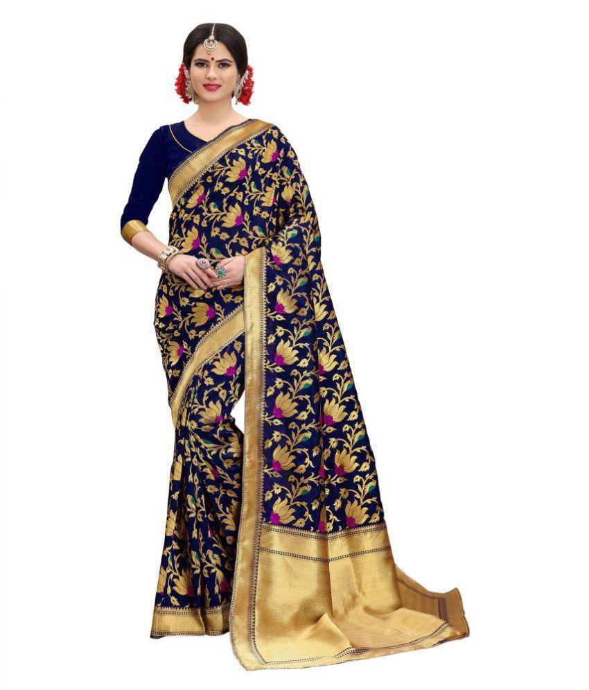 Pehnava Blue Banarasi Silk Saree