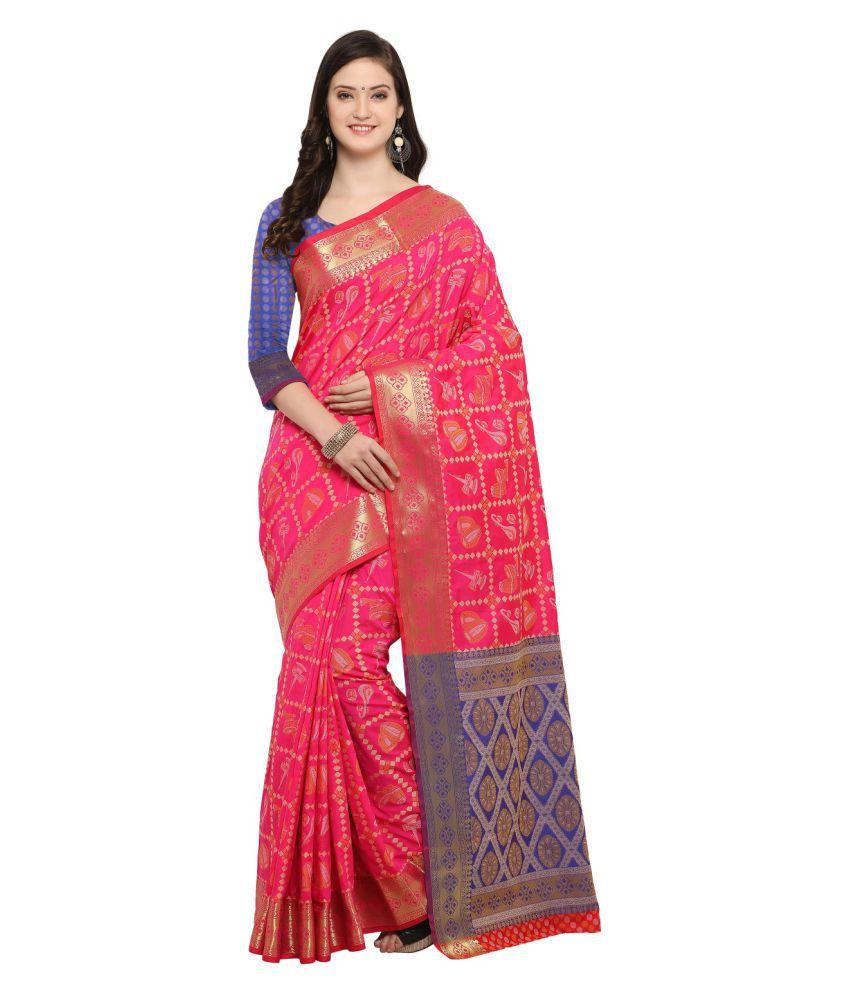 Rachna Pink Cotton Blend Saree