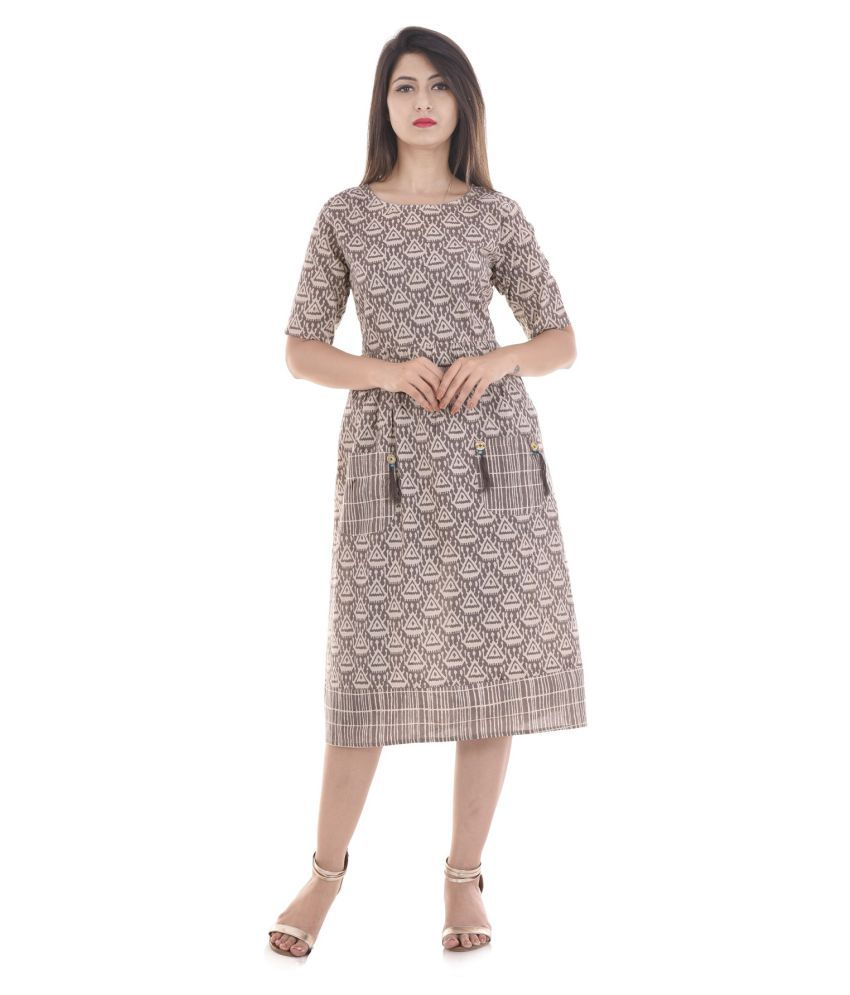 Vedika Overseas Brown Cotton Straight Kurti