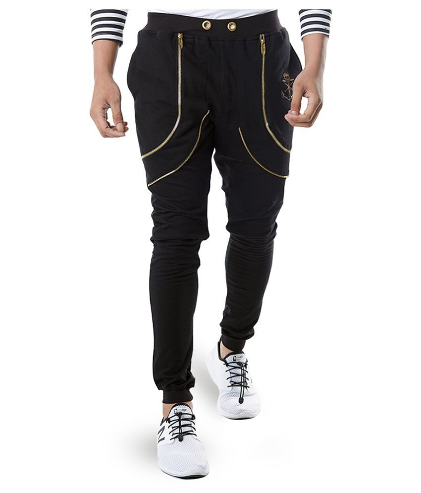 Rellin Black Cotton Lycra Trackpants