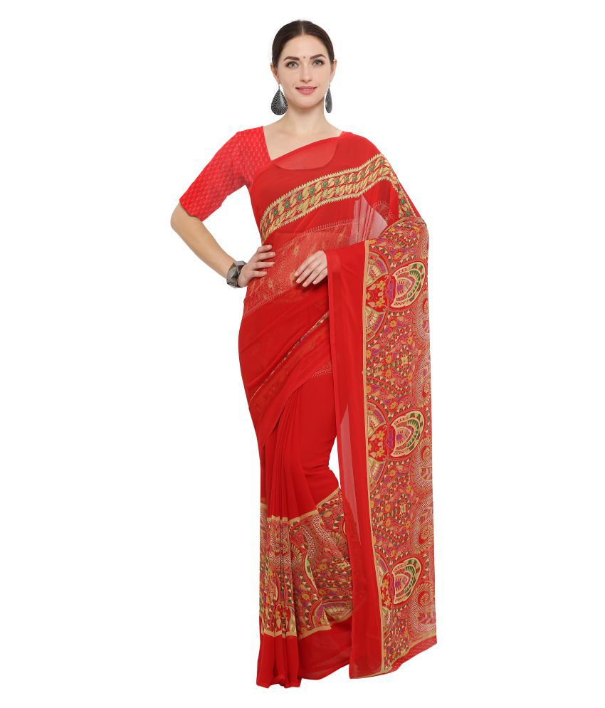 Rachna Red Georgette Saree