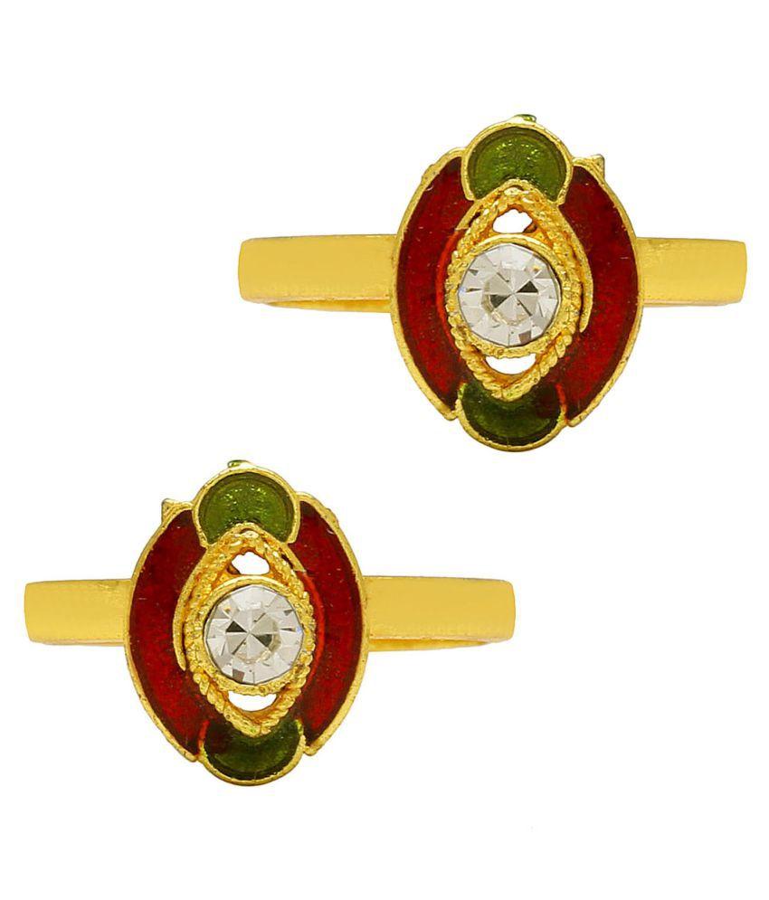 DzineTrendz Gold finish White Zirconia Red & Green Meenakari, adjustable size Stylish Traditional toering for Women