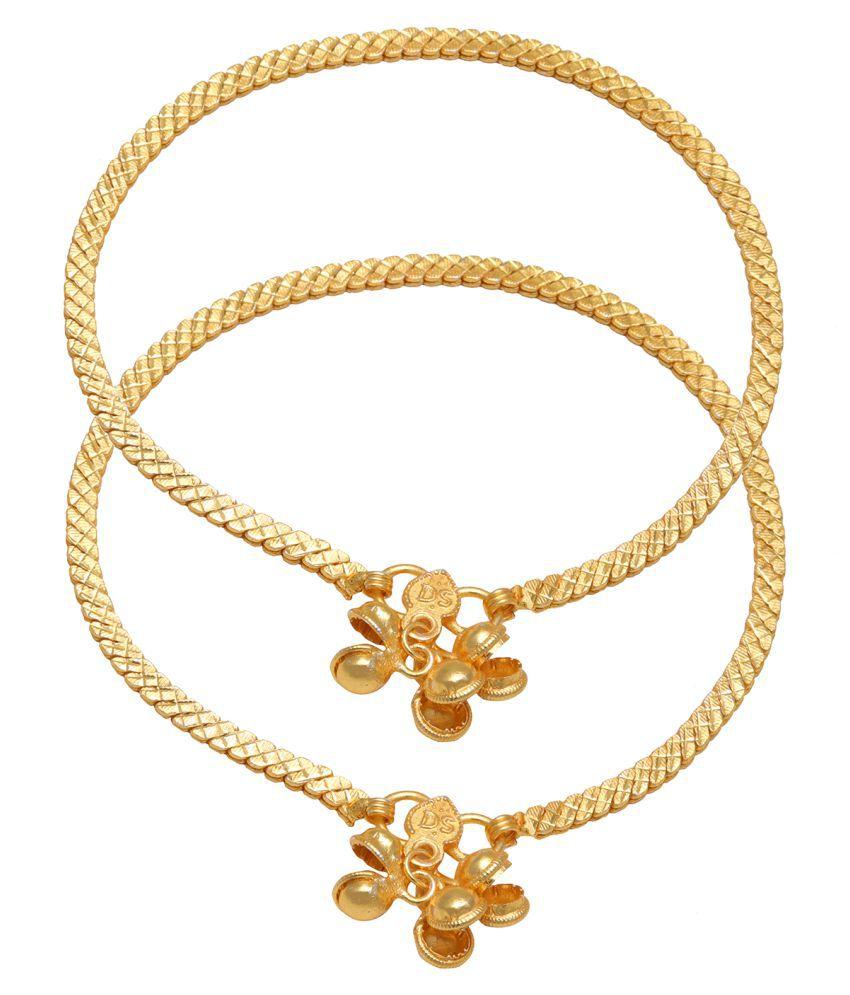 DzineTrendz Gold plated flat chain design, Ethnic Traditional Bridal Wedding jewellery payal pajeb anklet jewellery Women