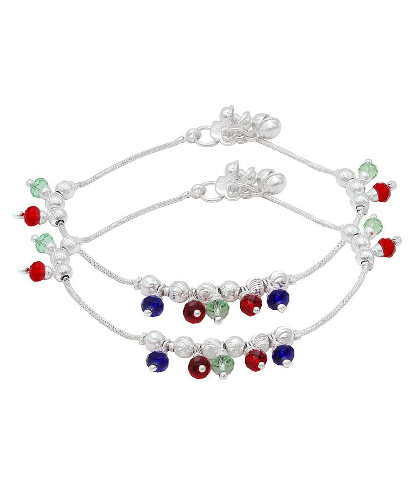 DzineTrendz Silver Plated Double string, with Green, Red, Blue CZ enriched with meena work, ghungroo pajeb payal Anklets for Women