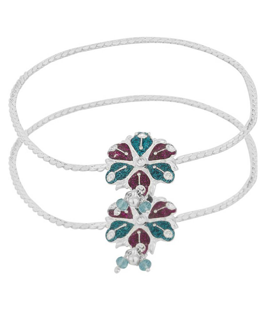 DzineTrendz Silver Plated, designer, Handcrafted Flower design Meenakari Single line Anklet for Girls and Women