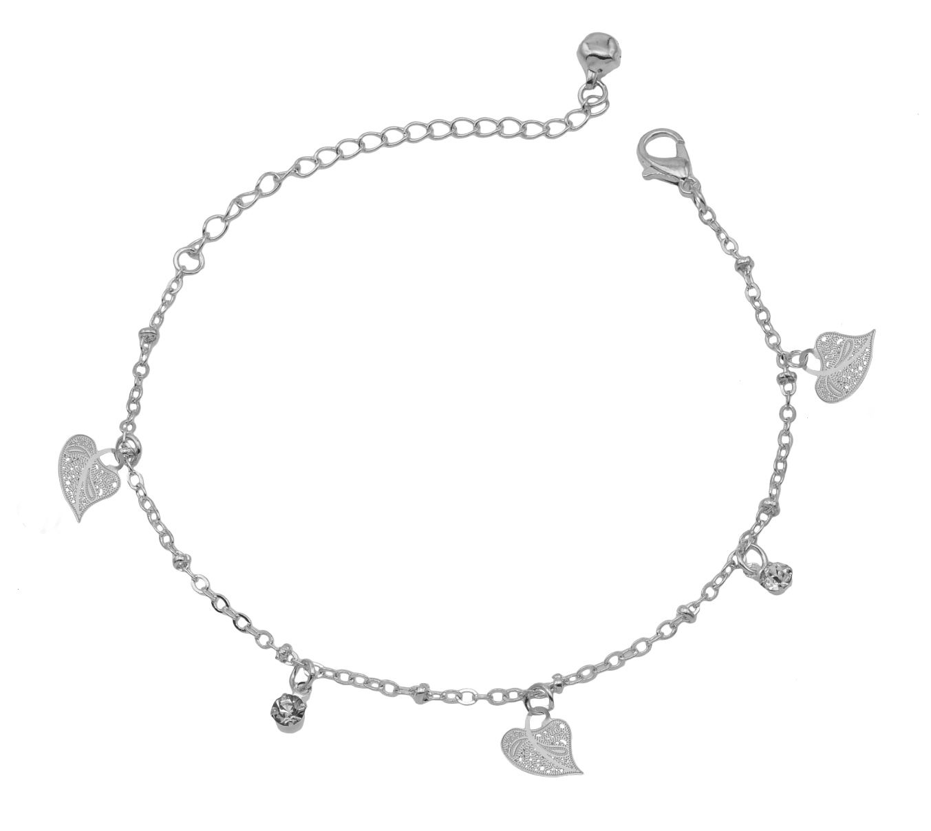 High Trendz Trendy Light Weight Silver Plated Anklet With Hanging Leaf For Women And Girls