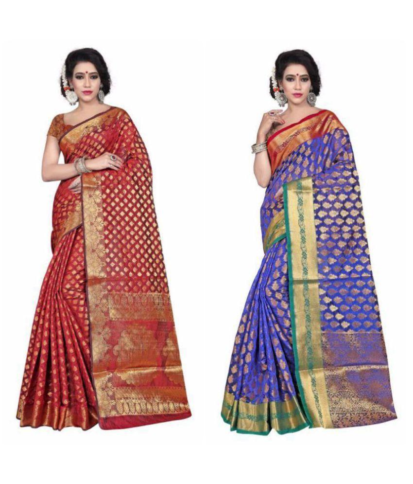 Gazal Fashions Multicoloured Silk Saree Combos