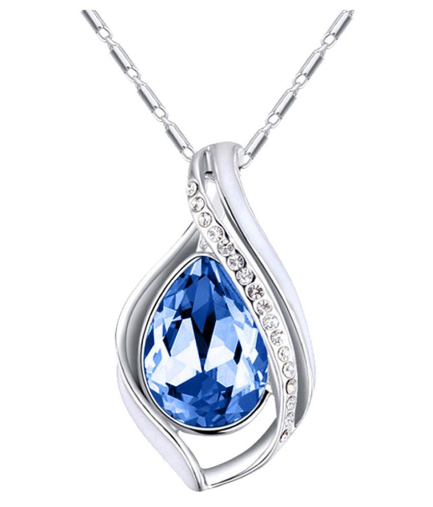 Mahi Rhodium Plated Majestic Water Drop Montana Blue Pendant with Crystal Stones PS1193696RMBlu