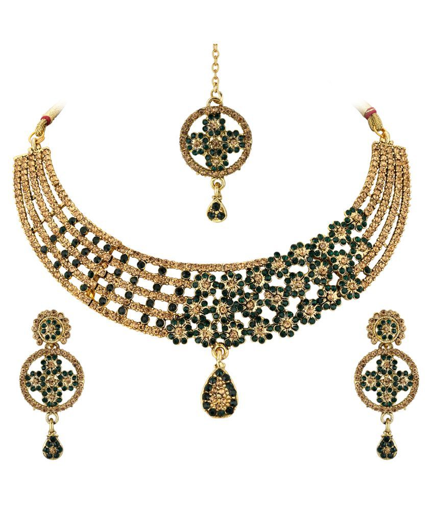 Spargz Floral Gold Plated Bollywood Red AD Stone Fashion Bridal jewellery Necklace Set For Women AINS_298