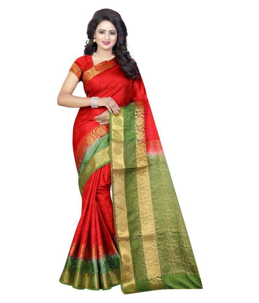 womaniya online Red Tussar Silk Saree