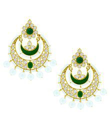 Spargz Crystal Green Designer Chandbali Pearl Artificial Jewellery Dangle And Drop Earring For Women And Girls AIER 430