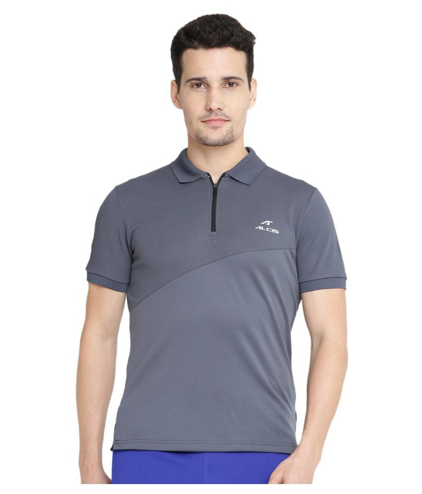 Alcis Men Solid Grey Polo