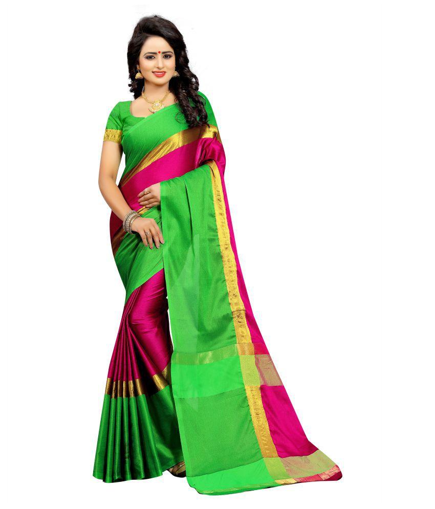 Senorita Fashion Green Cotton Silk Saree