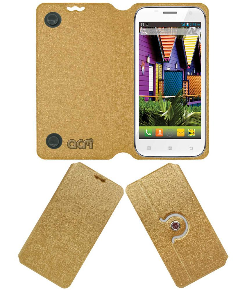 Iball Andi 5.5n2 Quadro Flip Cover by ACM - Golden
