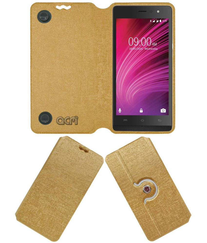 Lava A97 Ips Flip Cover by ACM - Golden