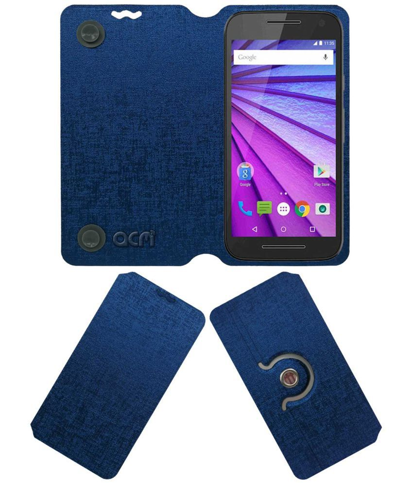 Virat Fanbox Moto G Turbo Flip Cover by ACM - Blue