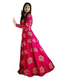 Jiya impex Pink Bangalore Silk Anarkali Gown Semi-Stitched Suit