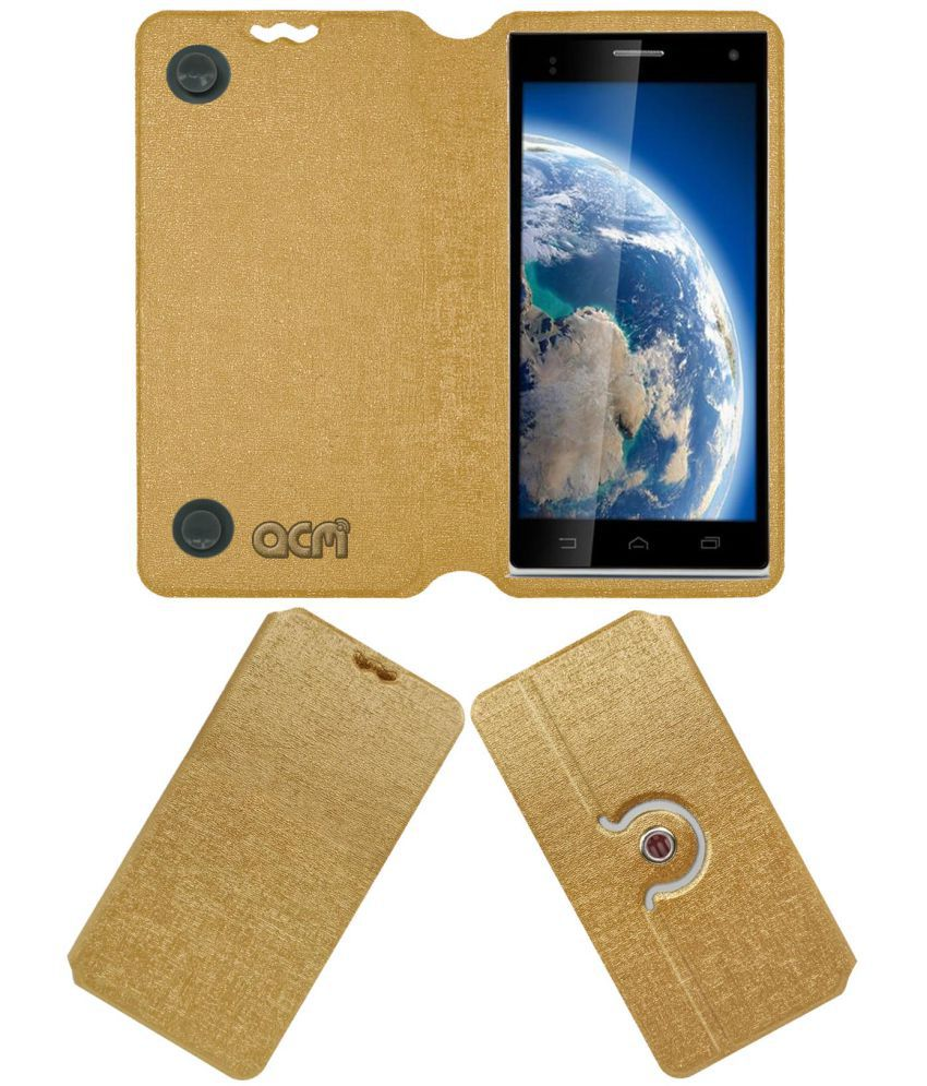 Iball Andi Stallion Plus Flip Cover by ACM - Golden