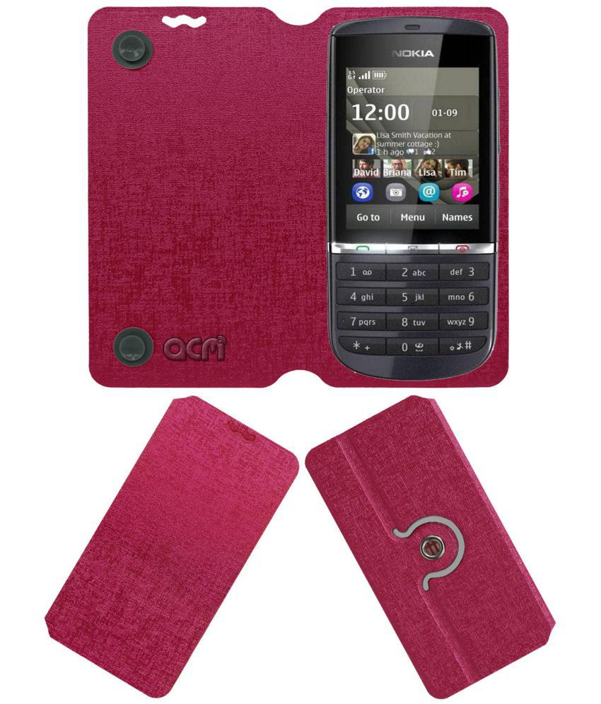 Nokia Asha 300 Flip Cover by ACM - Pink