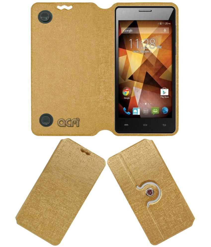 Spice 511 Pro Flip Cover by ACM - Golden