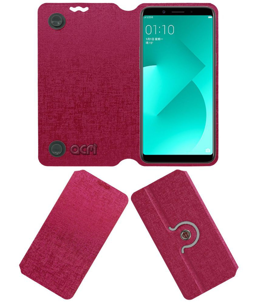 best service 0c6e0 13be2 Oppo A83 Flip Cover by ACM - Pink