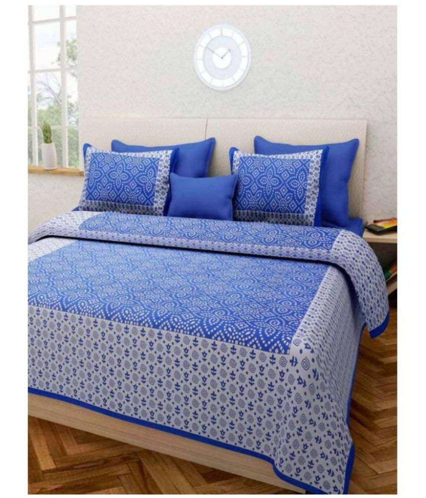 PRATAP CREATIONS Cotton Double Bedsheet with 2 Pillow Covers
