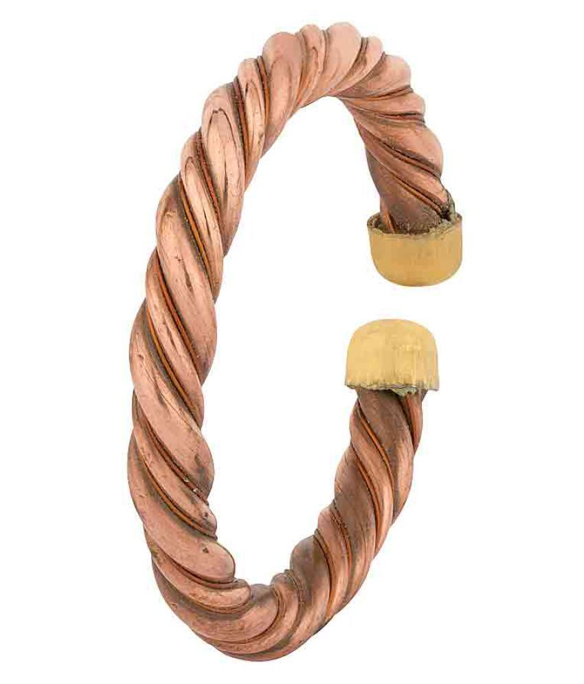 DzineTrendz Copper twisted wire 10mm thick, open end, health benificial Kada Men Women