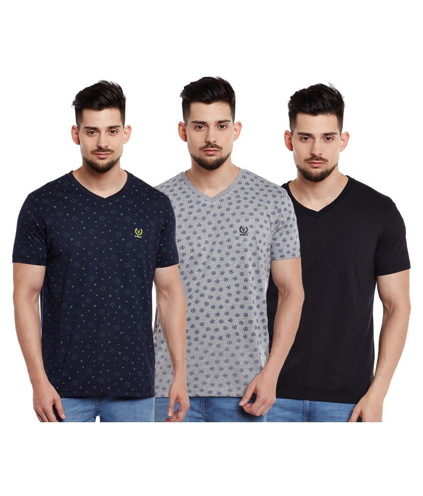 Vimal Multi V-Neck T-Shirt Pack of 3
