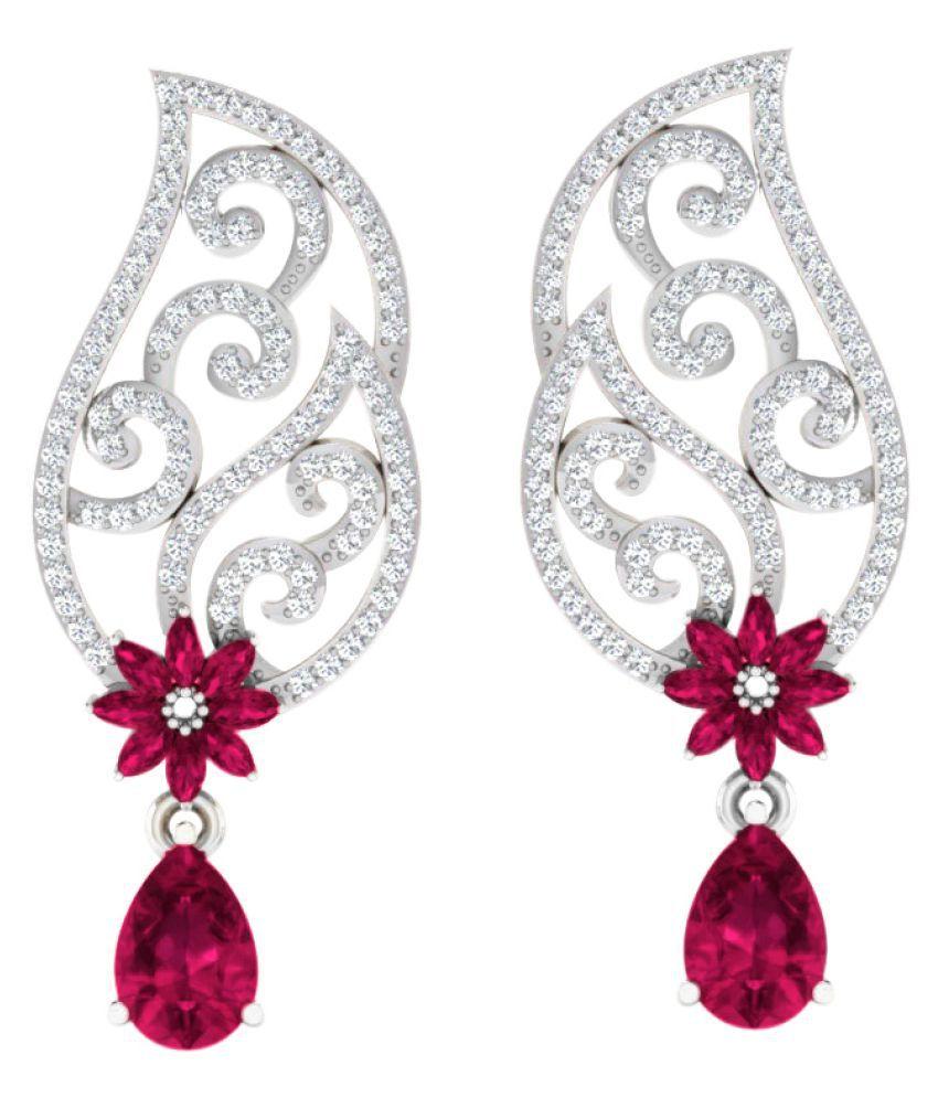 His & Her 92.5 Silver Ruby Drop Earrings
