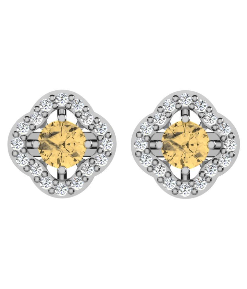 His & Her 92.5 Silver Citrine Studs
