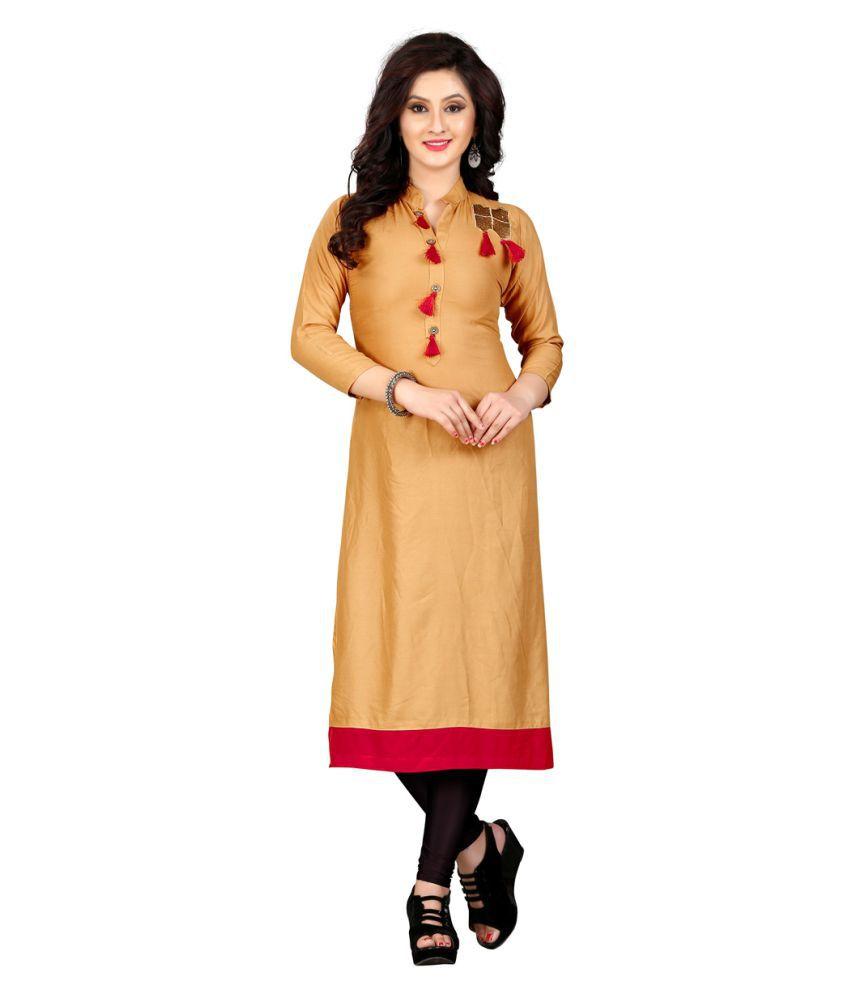 Fashion Storey Beige Rayon Straight Kurti