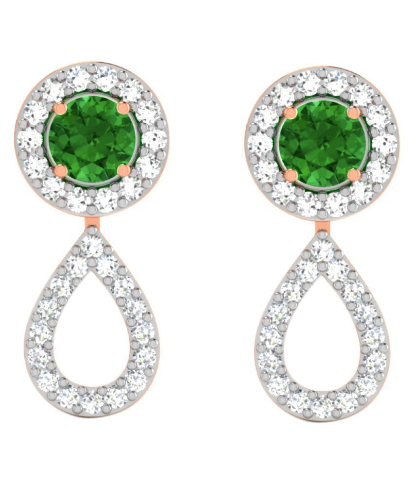 His & Her 9k Rose Gold Emerald Drop Earrings