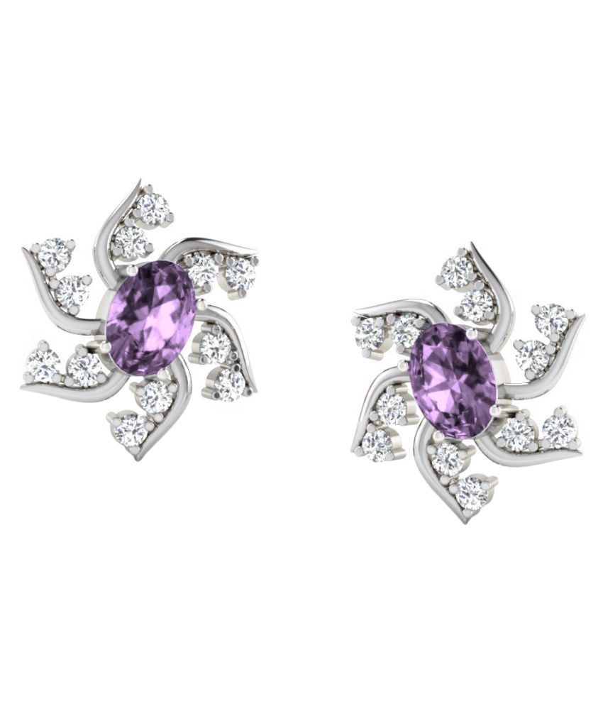 His & Her 9k White Gold Amethyst Studs