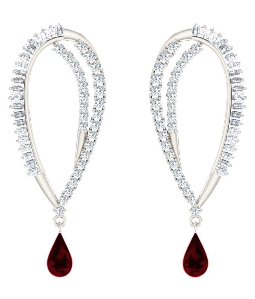 His & Her 9k White Gold Garnet Drop Earrings