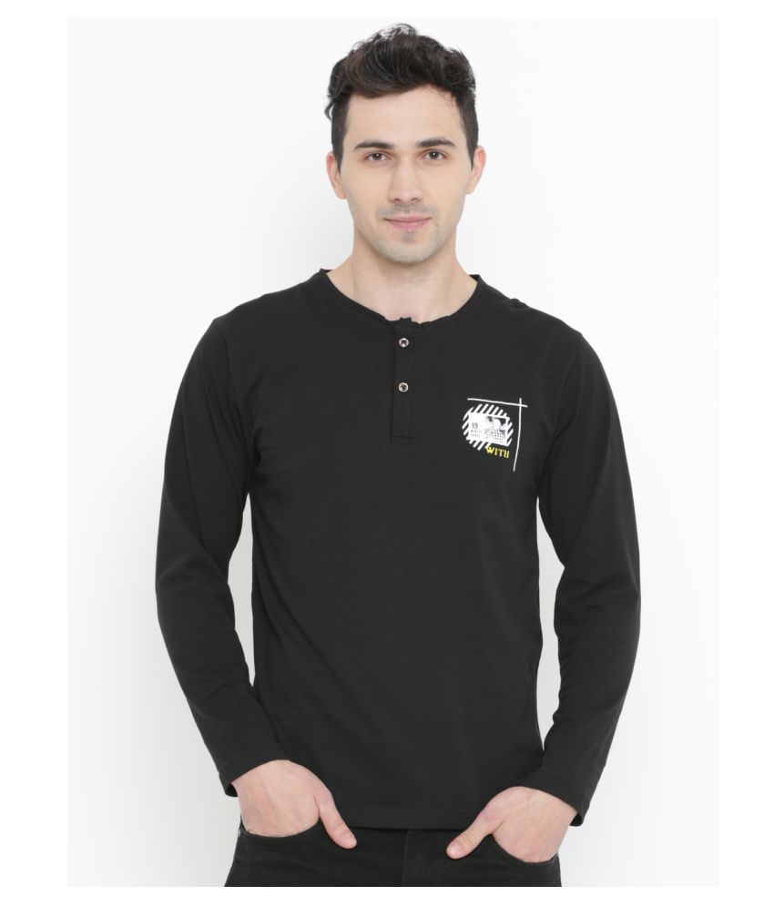WITH Black Henley T-Shirt Pack of 1