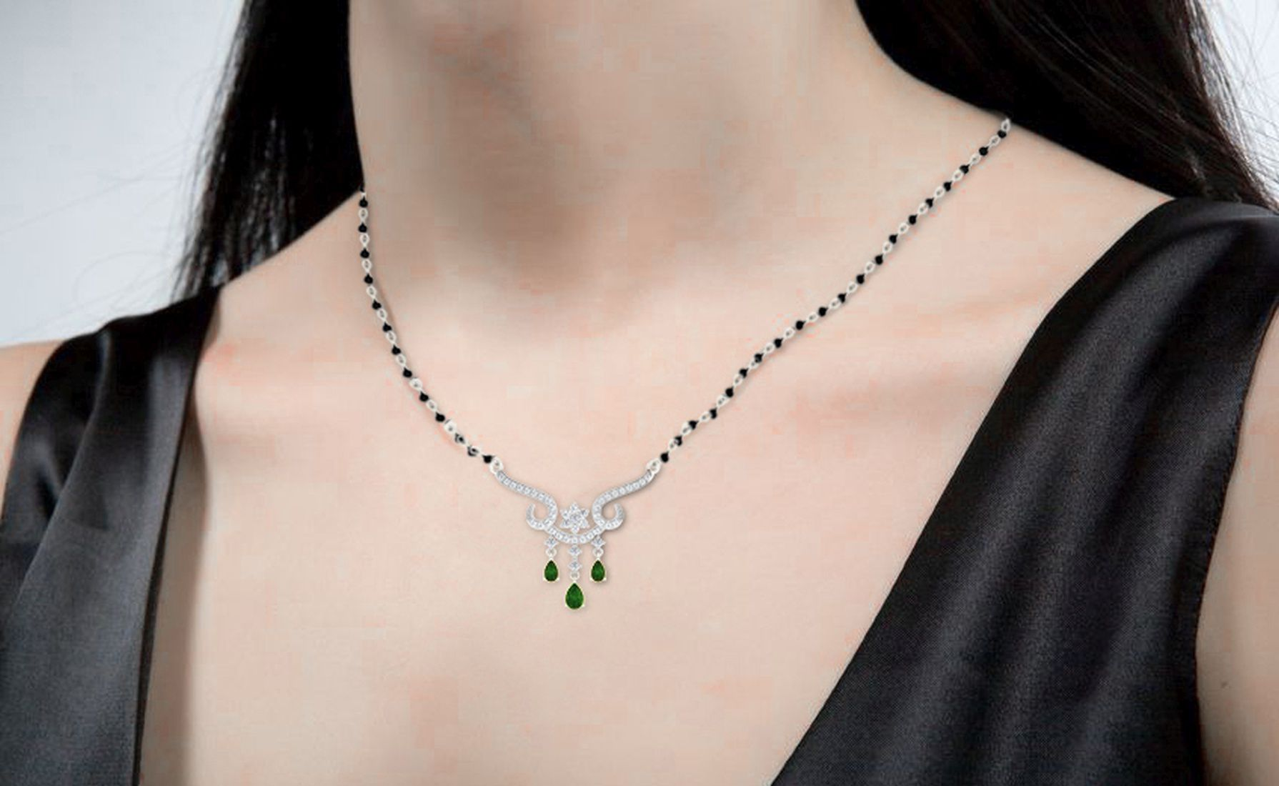 His & Her 9k White Gold Emerald Mangalsutra