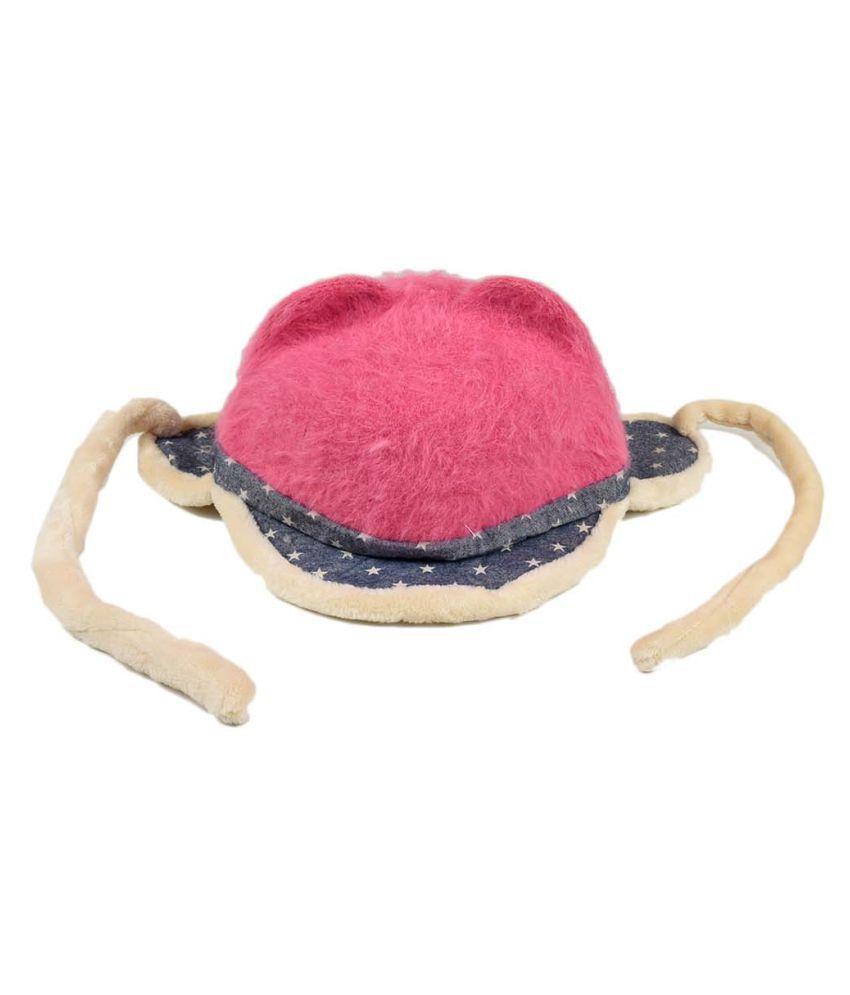 Tiekart Cute Funky Pink Winter Warm Woolen Cap With Side Ear Covering for Kids