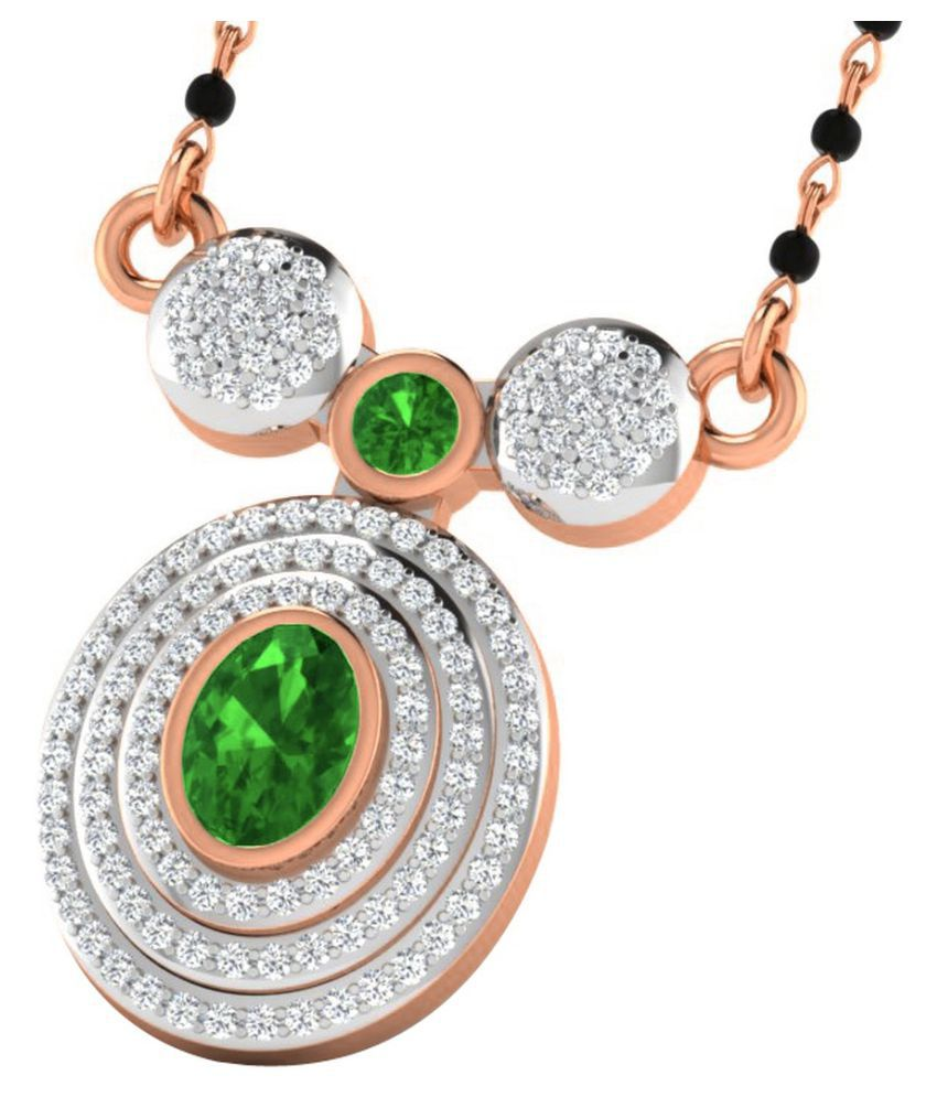 His & Her 9k Rose Gold Emerald Mangalsutra
