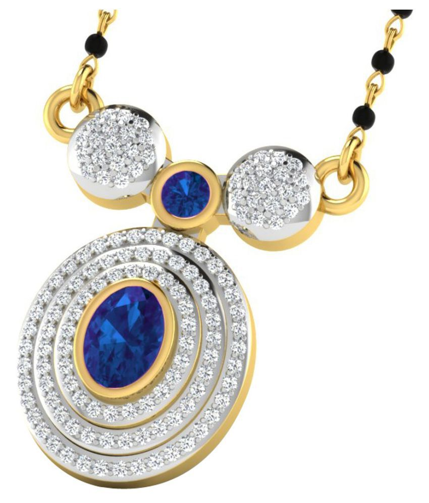 His & Her 9k Yellow Gold Sapphire Mangalsutra