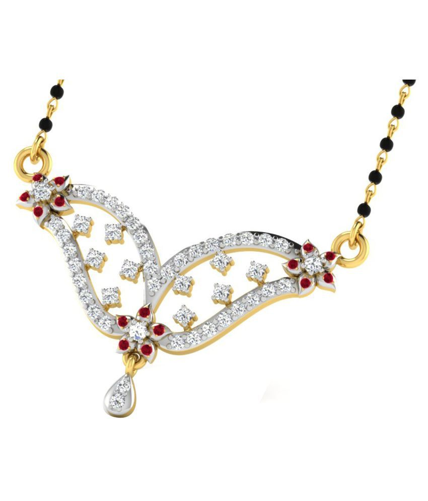 His & Her 9k Yellow Gold Garnet Mangalsutra