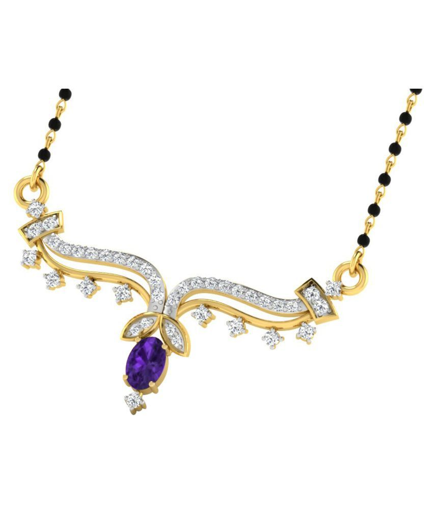 His & Her 9k Yellow Gold Amethyst Mangalsutra