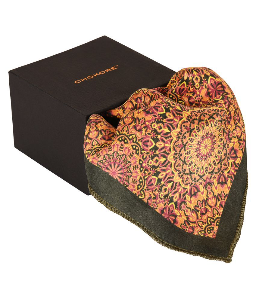 Chokore Black & Orange Silk Pocket Square - Indian At Heart line