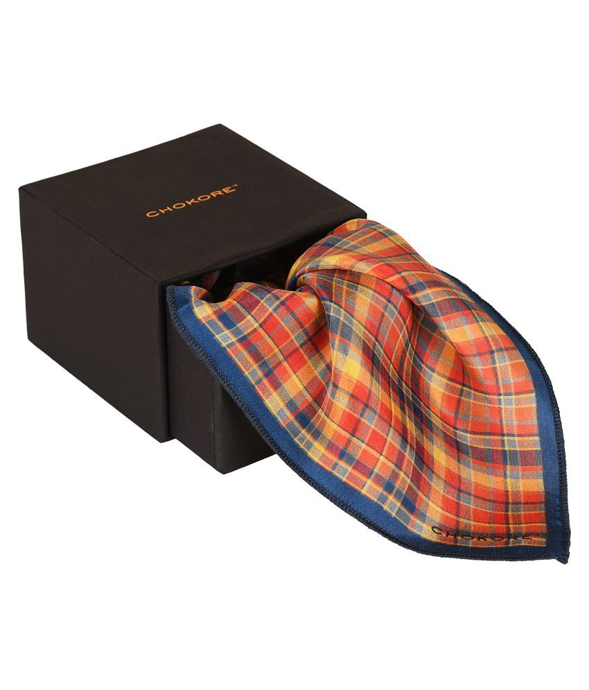 Chokore Two-in-One Red & Yellow Silk Pocket Square from the Plaids Line