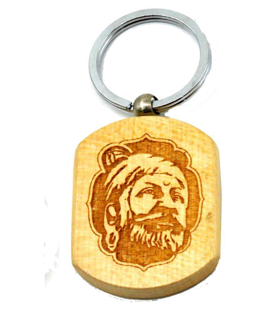 Faynci Shivaji Maharaj  Engraved Handcrafted Wooden Key Chain