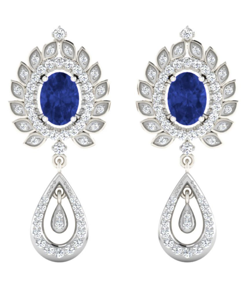 His & Her 92.5 Silver Sapphire Drop Earrings