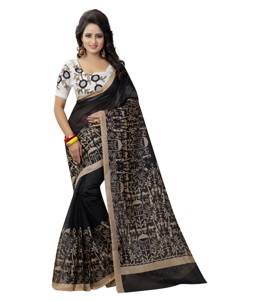 IndoPrimo Black Art Silk Saree
