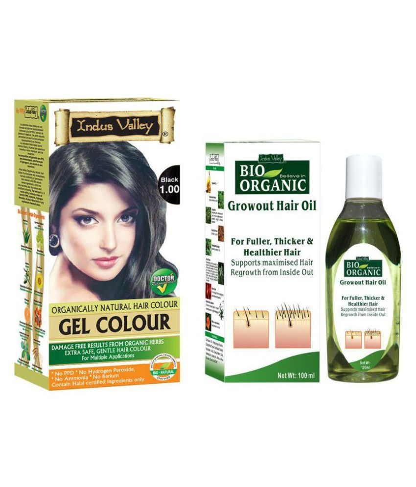 Indus Valley Growout Hair Oil With Gel Natural Permanent Hair Color Black 300 mL Pack of 2