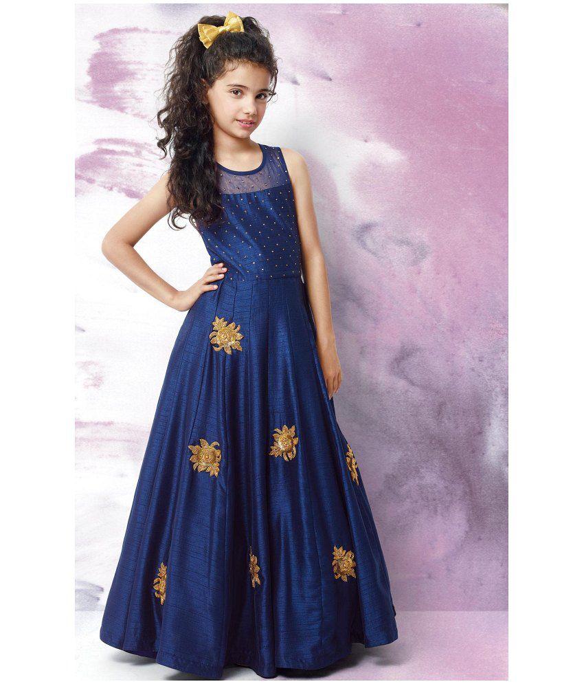 White Button Designer Girl\'s Latest Blue Banglori Silk Embroidery ...
